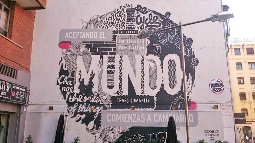 Street art in the streets in Malasana neighbourhood in Madrid