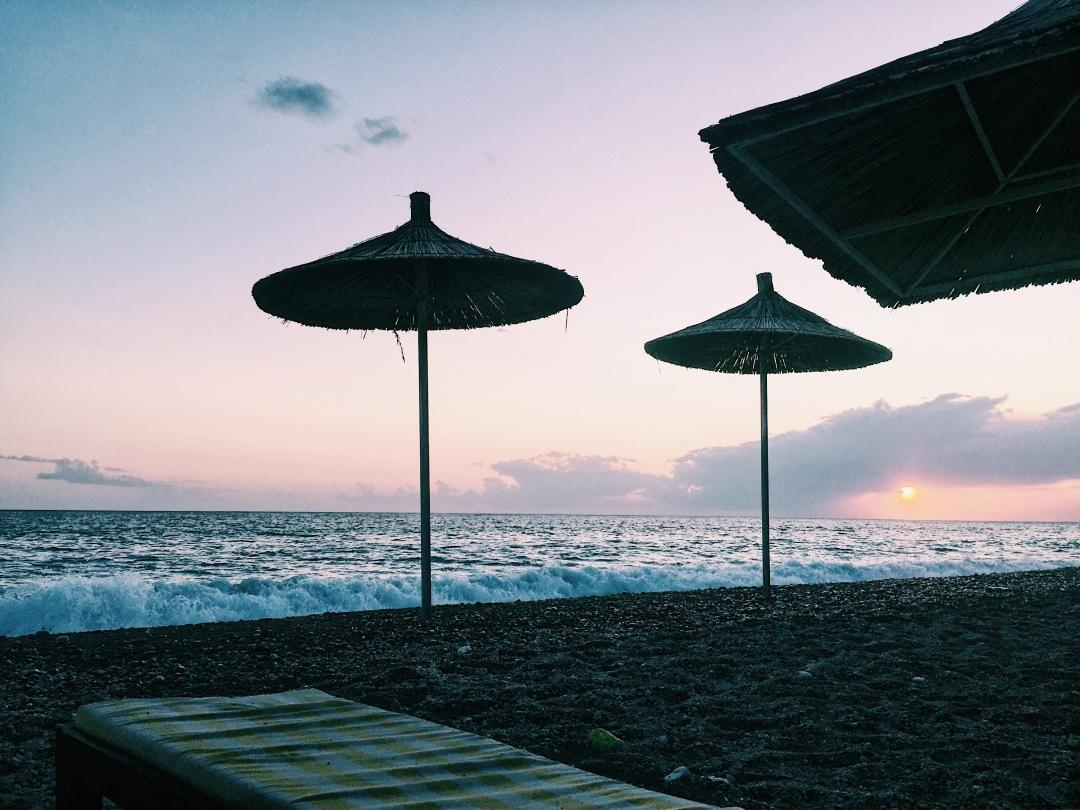 Sunset over Dermi beach, Albania