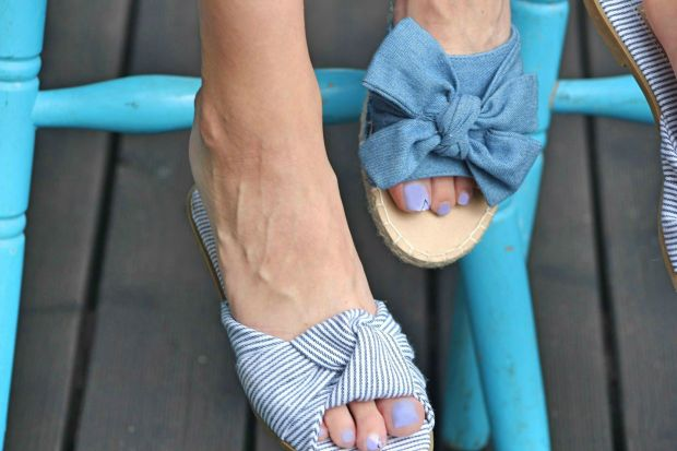 Blue striped slippers