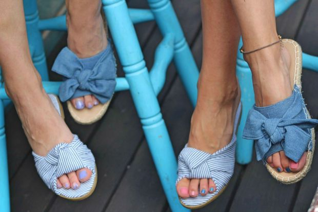 Blue denim slippers