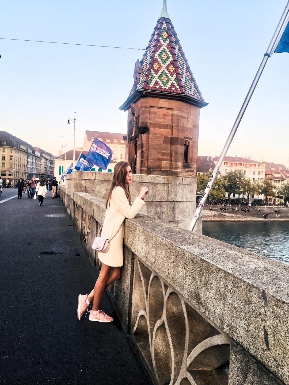 Basel city walk pedestrian bridges over Rhine river