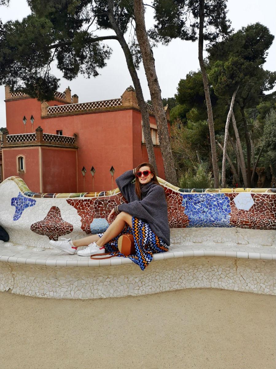 Parc Gueall mosaic Plaza de la Naturaleza Barcelona