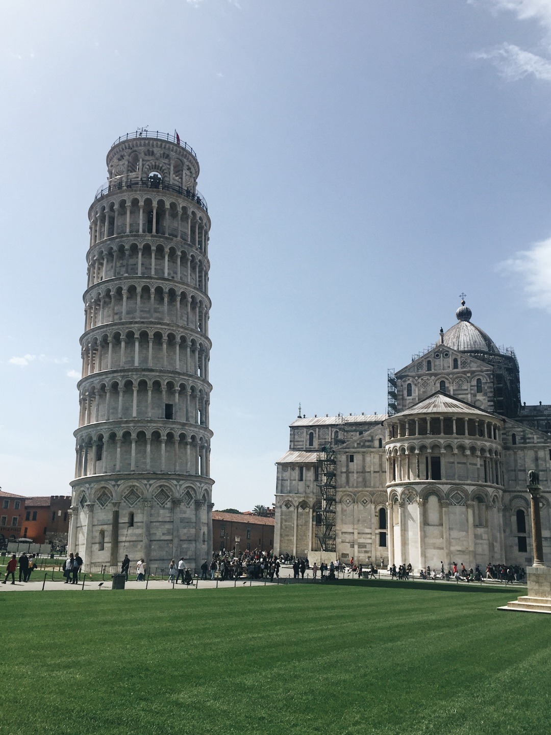 Piazza di Miracoli in Pisa - leaning tower, cathedral of Pisa