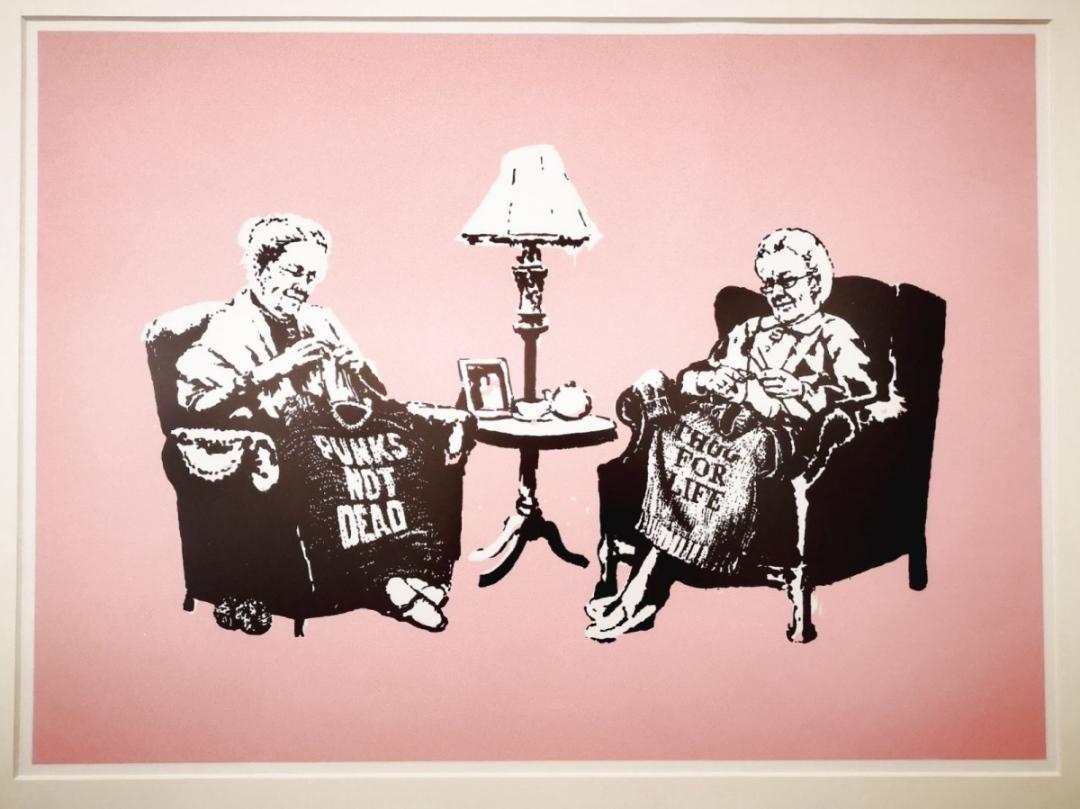 Grannies pink print by artist Banksy