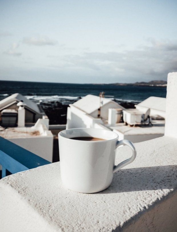 Coffee and balcony view island of Lanzarote