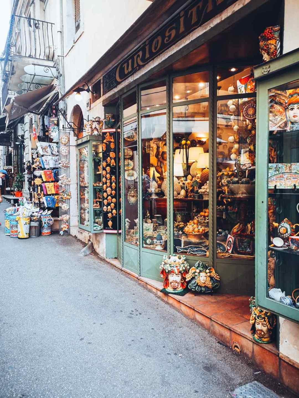 Corso Umberto shopping streets in Taormina Italy