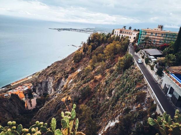 Taormina Ionian sea view from piazza IX april